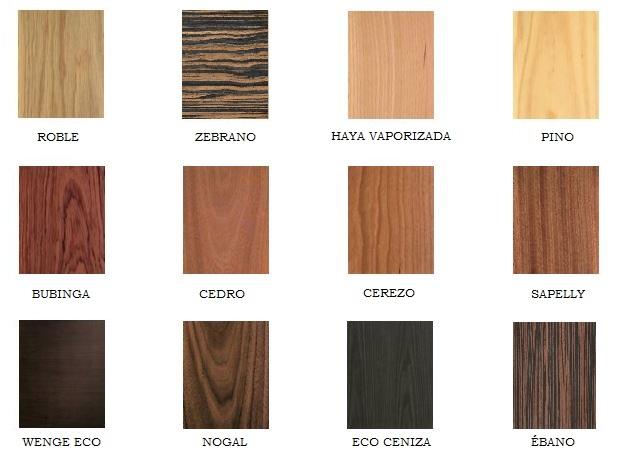 Maderas y acabados disponibles puertas jemofer for Tipos de puertas de madera