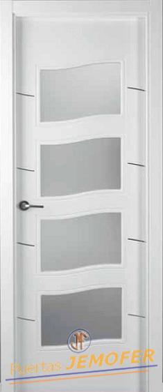 Puerta lacada blanca lac 08c 4v puertas jemofer for Precio puertas blancas