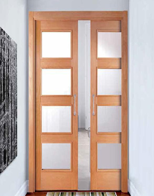 Puerta sal n corredera doble en roble puertas jemofer - Puerta corredera doble ...