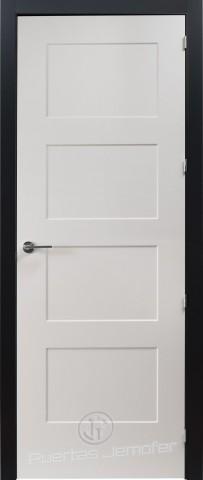 puerta lacada blanca 4 cuadros marco negro