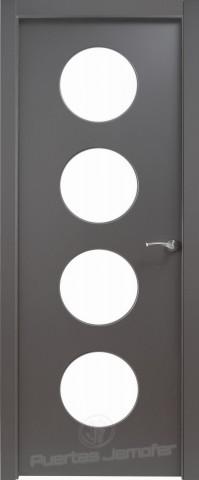 puerta lacada negra circulos cristal